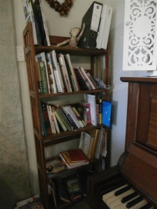 A bookshelf for our library books (and other books we are specifically reading)