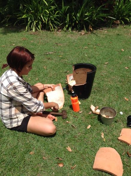 breaking pots for a 'fairy' garden